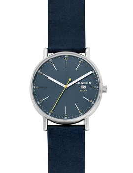 Signatur Solar Powered Leather Strap Watch, 40mm by Skagen