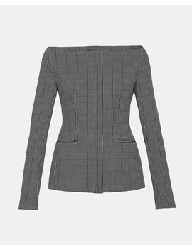Graphic Check Off The Shoulder Jacket by Theory