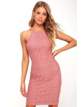 Lover's Way Rusty Rose Lace Bodycon Dress by Lulus