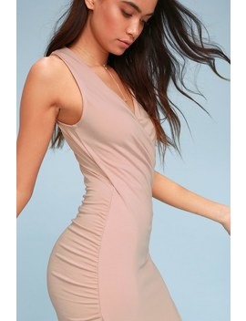 All The Right Moves Blush Pink Bodycon Wrap Dress by Lulus