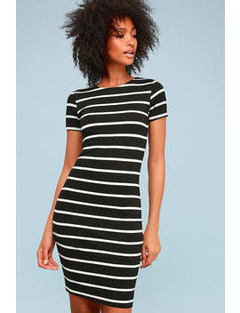 Drop Me A Line Black And White Striped Bodycon Dress by Lulus