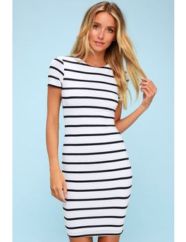 Drop Me A Line Navy Blue And White Striped Bodycon Dress by Lulus