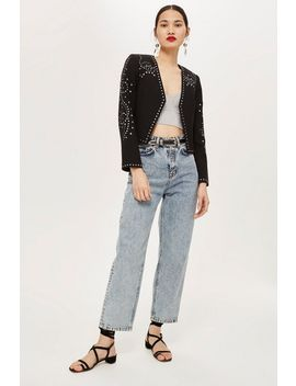 Cropped Studded Jacket by Topshop