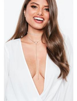 Gold Look Horn Drop Multirow Necklace by Missguided