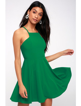 Call To Charms Green Skater Dress by Lulus