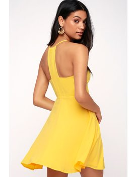Call To Charms Yellow Skater Dress by Lulus