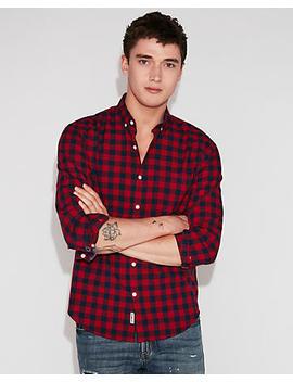 Slim Soft Wash Small Plaid Button Down Shirt by Express
