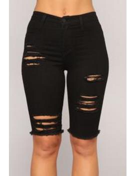 My Favorite Denim Bermuda Shorts   Black by Fashion Nova