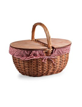 Picnic Time Country Picnic Basket With Red/White Gingham Liner by Picnic Time