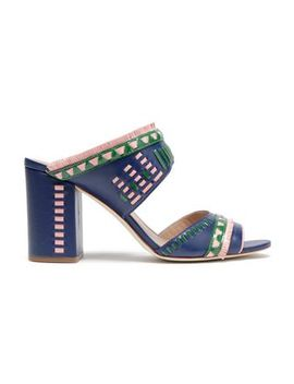 Fringe Trimmed Embroidered Leather Sandals by Tory Burch