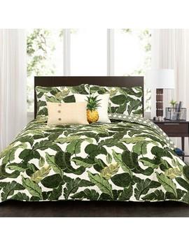 Green Tropical Paradise Quilt Set 5pc   Lush Decor by Lush Decor