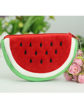 Cute Girls Little Watermelon Portable Zipper Coin Purse Wallets Case Plush Bag by Unbranded