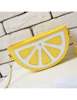 Women Mini Pu Handbag Phone Bag Purse Cross Body Chain Watermelon Lemon Slice by Unbranded