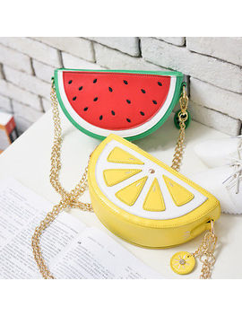 Us Ship! Mini Pu  Summer Handbag Purse Cross Body Chain Watermelon Lemon Slice by Unbranded