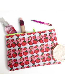 Strawberry Zip Pouch by Etsy