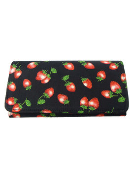 "Usa Handmade Bifold Woman Wallet With ""Delicious Strawberries"" Pattern, Cotton Fabric, New by Etsy"
