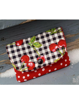 Cherry Business Card Holder, Small Gingham Wallet, Cherry Wallet, Small Pocket Wallet by Etsy