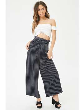 Pinstriped Paperbag Waist Pants by F21 Contemporary