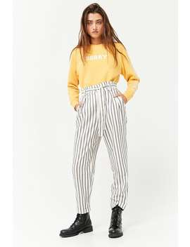 Striped Paperbag Waist Pants by F21 Contemporary