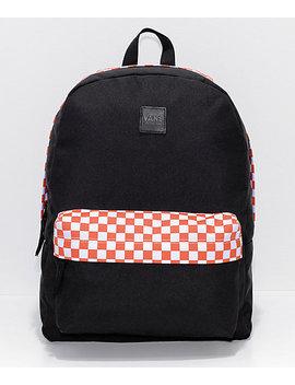 Vans Realm Sporty Orange Checker 22 L Backpack by Vans