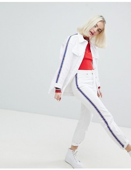 Monki Side Stripe White Denim Jacket by Monki