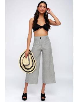 Back It Cream And Black Striped Culottes by Billabong