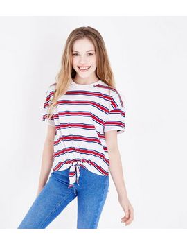 Teens White Stripe Tie Front T Shirt by New Look