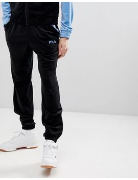 Fila Black Line Velour Slim Joggers In Black by Fila