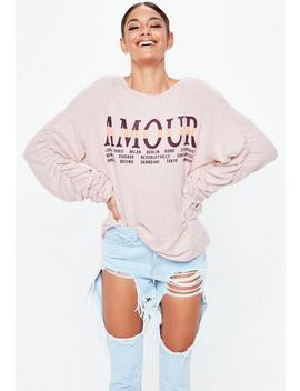 Pink Amour Graphic Brushed Sweathsirt by Missguided