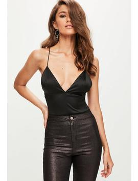 Black Basic Satin Bodysuit by Missguided
