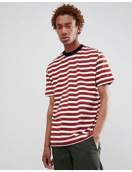 Asos Design Relaxed Stripe T Shirt In Burgundy by Asos Design