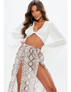 White Twist Front Flared Sleeve Crop Top by Missguided