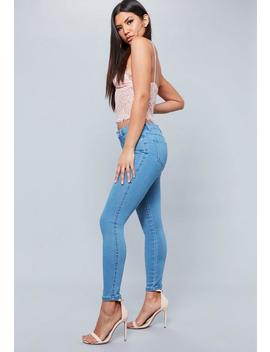 Blue Anarchy Mid Rise Clean Stretch Skinny Jeans by Missguided