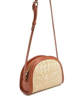 Straw Half Moon Crossbody by Forever 21