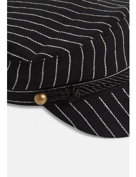 Black Pinstripe Baker Boy Cap by Missguided