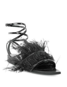Era Feather Ankle Strap Flats by Saint Laurent