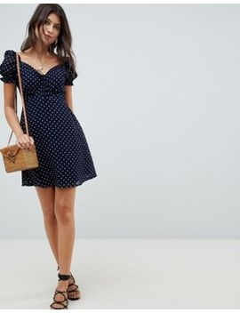 Influence Square Neck Polka Dot Skater Dress by Dress