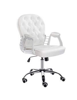 Jl Comfurni Office Chair Faux Leather Armchair Swivel Adjustable Chair Home Office Computer Girl Desk Chairs (White) by Amazon