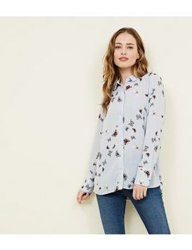 Pale Blue Butterfly Print Shirt by New Look