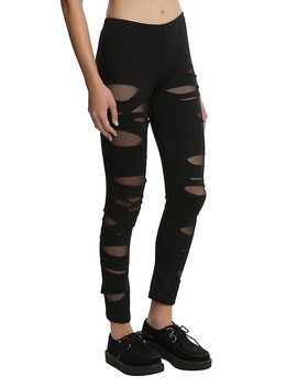 Black Shredded Fishnet Leggings by Hot Topic