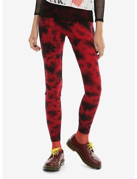 Blackheart Red & Black Tie Dye Leggings by Hot Topic