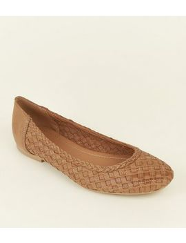 Tan Leather Woven Ballet Pumps by New Look