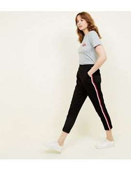 Red Side Stripe Slim Leg Trousers by New Look
