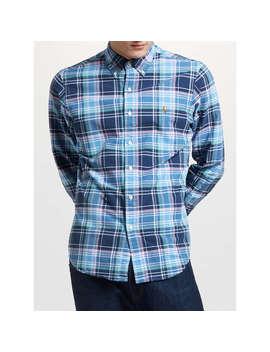 Polo Ralph Lauren Slim Fit Check Oxford Shirt, Navy/Dawn by Ralph Lauren