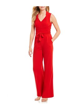 Jason V Neck Sleeveless Crepe Jumpsuit by Antonio Melani