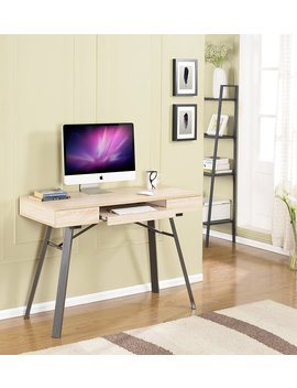 Kings Brand Metal With Wood Workstation Writing Computer Desk, Natural Finish by Kings Brand Furniture