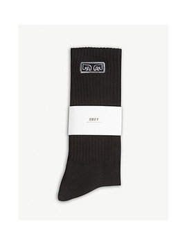 Logo Ribbed Cotton Blend Crew Socks by Obey