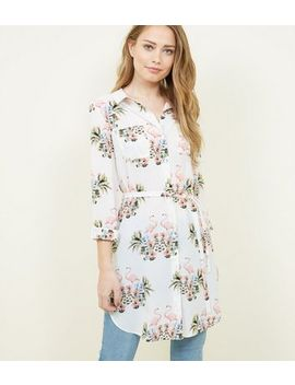 Mela Multi Colour Flamingo Print Tie Waist Shirt by New Look