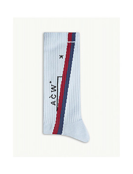 Diagonal Stripe Rib Knit Socks by A Cold Wall