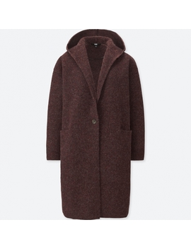 Women Melange Wool Hooded Knitted Coat by Uniqlo